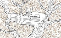 Page animale de livre de coloration pour des adultes Chat drôle dormant sur l'arbre Photo libre de droits