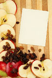 Page with apples and raisin Royalty Free Stock Image