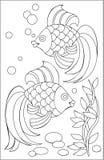 Page avec le dessin noir et blanc des poissons pour la coloration Images libres de droits
