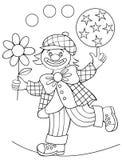 Page avec le dessin noir et blanc du clown pour la coloration Photos stock