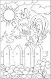 Page avec le dessin noir et blanc du coq pour la coloration Photographie stock
