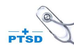Page avec PTSD - signalez le désordre traumatique d'effort Hommes de combattant photographie stock