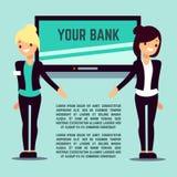 Page bienvenue d'infos de banque avec les filles et l'écran plats Photos stock