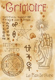 Page from black magic book Grimoire Stock Photo