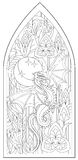 Page with black and white drawing of beautiful medieval Gothic window with stained glass and dragon for coloring. Royalty Free Stock Image