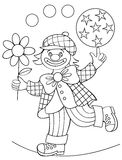 Page with black and white drawing of clown for coloring. Vector image. Developing children skills for drawing and coloring Stock Photos