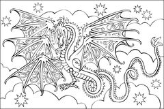 Page with black and white drawing of dragon for coloring. Stock Photos