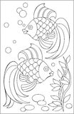 Page with black and white drawing of fishes for coloring. Royalty Free Stock Images