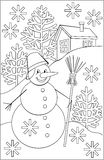 Page with black and white drawing of snowman for coloring. Stock Image