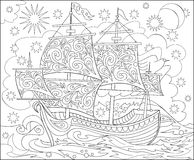Page with black and white illustration of fantasy fairyland ship for coloring. Worksheet for children and adults. Royalty Free Stock Image
