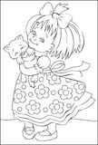 Page with black and white illustration of little girl for coloring. Stock Photos