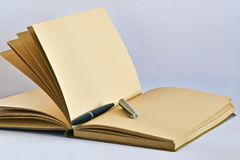 Page blanc et crayon lecteur Photographie stock libre de droits