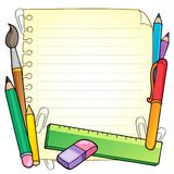 Page blanc et papeterie 1 de bloc-notes Photo stock