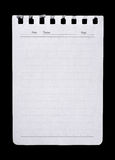 Page blanche de papier de cahier d'isolement Images libres de droits