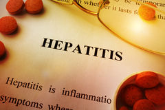 Page of book with title Hepatitis. Royalty Free Stock Photo