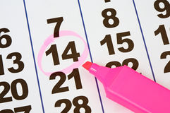 Page of the calendar. And pink pencil Royalty Free Stock Images