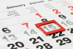 Page of calendar showing date of today Royalty Free Stock Images