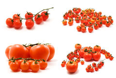 Page of cherry tomatoes. Isolated on white background royalty free stock photo