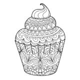 Cupcake for coloring book for adults. Page for coloring book for adults. Cupcake. Vector illustration isolated on white background.Zentangle style. Antistress Royalty Free Stock Images