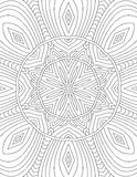 Page coloring book for adults mandala drawn with black lines on Stock Photography