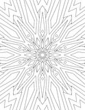 Page coloring book for adults mandala drawn with black lines on Stock Images