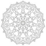 Page coloring mandala with hearts isolated on white Stock Image