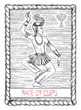 Page of cups. The tarot card. Royalty Free Stock Photography