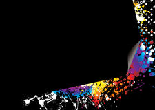 Page curl rainbow bright. Brightly coloured ink splat background with page curl Stock Photography