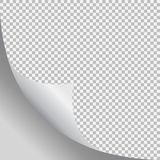Page curl with shadow on blank sheet of paper. Vector element for advertising and promotional message. Isolated vector illustration on transparent background Royalty Free Stock Photography