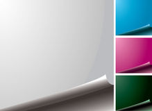 Page curl variation. Four color variations of a blank page with the edge curl Stock Photo