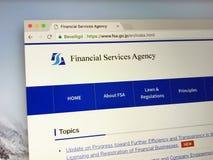 Page d'accueil de l'agence de services financiers - FSA Image libre de droits