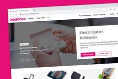 Page d'accueil de site Web d'Indiegogo Crowdfunding photographie stock libre de droits