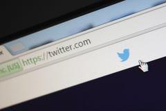 Page d'accueil de Twitter com Photos libres de droits