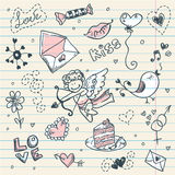 Page d'album au jour de Valentine de griffonnage Images stock