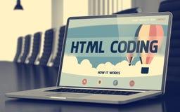 Page d'atterrissage d'ordinateur portable avec le concept de codage de HTML 3d Image libre de droits