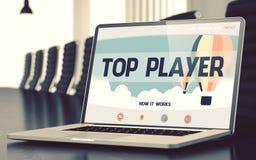 Page d'atterrissage d'ordinateur portable avec le concept de meilleur joueur 3d Photos stock