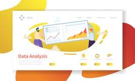 Page d'atterrissage de concept d'analyse de données Calibre plat de site Web de graphique de tableau de bord de bâtiment de carac illustration stock