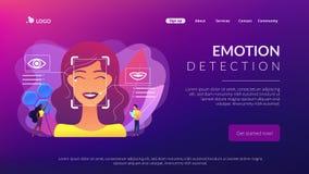 Page d'atterrissage de concept de détection d'émotion illustration de vecteur