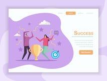 Page d'atterrissage de concept de succès illustration stock