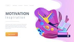 Page d'atterrissage de motivation et d'inspiration illustration stock