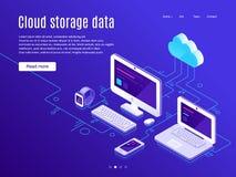 Page d'atterrissage de stockage de nuage Les stockages de nuages de synchronisation et les dispositifs, sauvegarde des données et illustration de vecteur