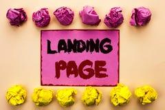 Page d'atterrissage des textes d'écriture de Word Le concept d'affaires pour le site Web a accédé en cliquant sur un lien sur une Images stock