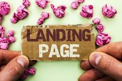 Page d'atterrissage des textes d'écriture de Word Le concept d'affaires pour le site Web a accédé en cliquant sur un lien sur une Photo libre de droits