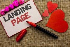 Page d'atterrissage des textes d'écriture de Word Le concept d'affaires pour le site Web a accédé en cliquant sur un lien sur une Photographie stock