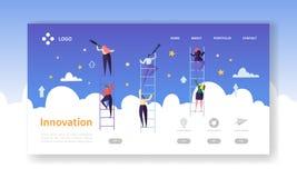 Page d'atterrissage d'innovation d'affaires Concept de vision d'affaires avec les caractères plats à la recherche de l'idée créat illustration de vecteur