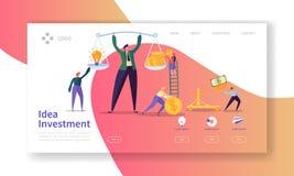 Page d'atterrissage d'investissement d'innovation Investissez dans la bannière d'idée avec les caractères plats de personnes sauv illustration libre de droits