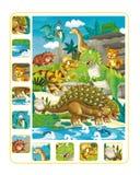 Page d'exercice de dinosaure de bande dessinée Photos libres de droits