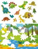 Page d'exercice de dinosaure de bande dessinée - jeu d'assortiment Photographie stock