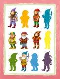 Page de bande dessinée avec le jeu différent de nains de caractères médiévaux avec des formes illustration stock