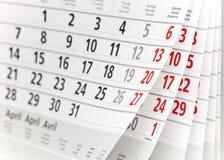 Page de calendrier Photographie stock